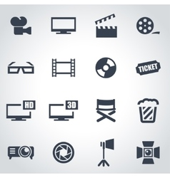 black cinema icon set vector image