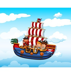 Boy and girl riding on viking with pirate vector
