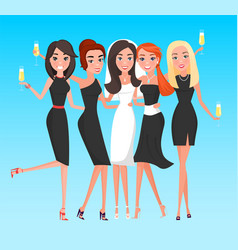 Bride with friends women hen-party holiday vector