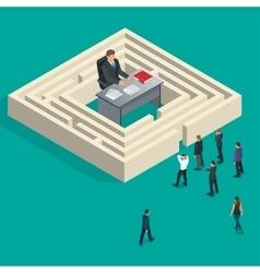 Bureaucrat in the maze People stand in a queue vector image