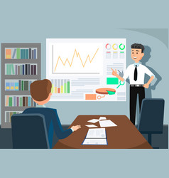 business man giving employee person presentation vector image