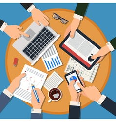 Business Meeting Concept Top View of Desk vector