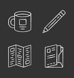 business tools chalk icons set office accessories vector image