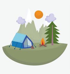 camping tent boot bonfire tree vacations activity vector image