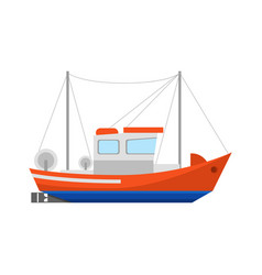 cartoon fishing boat icon on a white vector image
