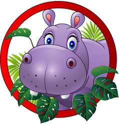 cartoon hippo mascot vector image
