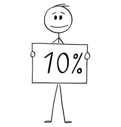 Cartoon man or businessman holding 10 or ten vector