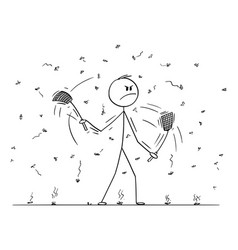 Cartoon man or businessman with swatters vector