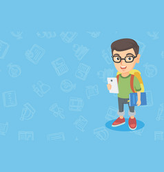 Caucasian boy holding cellphone and schoolbook vector