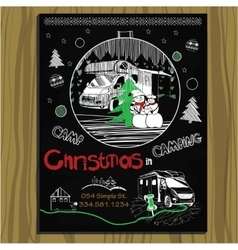 Chalk board invitation for Christmas holiday in vector