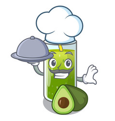 Chef with food avocado smoothies are isolated on vector