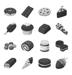 Chocolate desserts set icons in monochrome style vector image