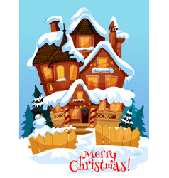 Christmas house with xmas decoration greeting card vector
