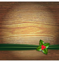 Christmas Wood Background With Green Ribbon And vector image