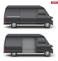 Classic black service van minibus vector