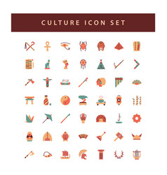 Culture icon set with colorful modern flat style vector