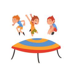Cute boys jumping on trampoline happy kids vector