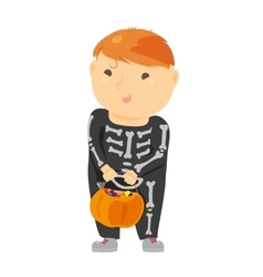 Cute cartoon kid in halloween costume vector