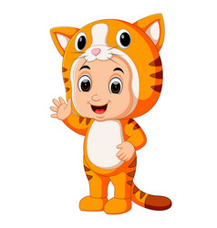 cute kids cartoon wearing cat costume vector image