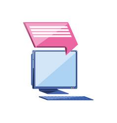 Desktop with speech bubble icon vector