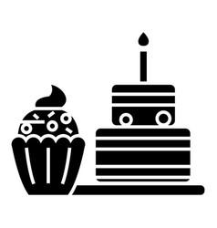 dessert icon black sign on vector image