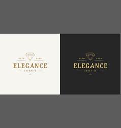 diamond line logo emblem design template vector image