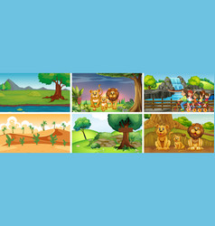 different scenes with animals and people vector image