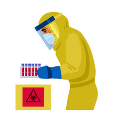 doctor in protective suit holding blood samples vector image