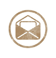 Envelope mail icon with pixel print halftone dots vector image