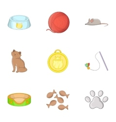 Equipment for care of pets icons set cartoon style vector image