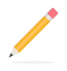 Eraser pencil flat isolated vector