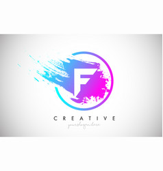 F artistic brush letter logo design in purple vector