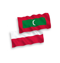 flags maldives and poland on a white background vector image