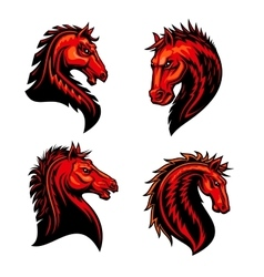 Flaming horse mustang bronco or racehorse mascot vector image