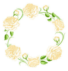 frame with yellow roses beautiful decorative vector image