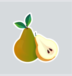 fresh juicy pear sticker tasty ripe fruit icon vector image