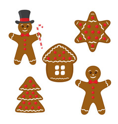 gingerbread set - cookie home star pine vector image