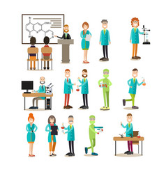 group of science people flat icon set vector image