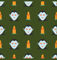Halloween seamless pattern with ghost and candle vector