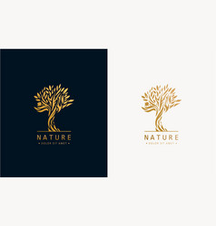 Hand drawn tree logo icon template design vector