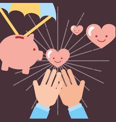 Hands receiving hearts love piggy bank donate vector