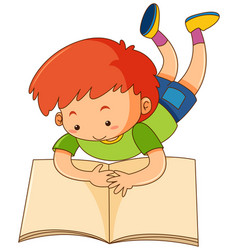 Happy boy reading book vector