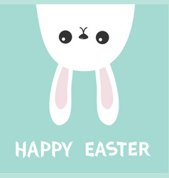 Happy easter white bunny hare rabbit hanging vector