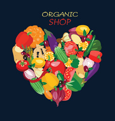heart shape by organic fresh healthy vegetables vector image vector image