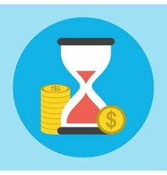 Hourglass with the penny icon vector