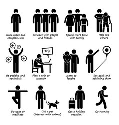 How to be a happier person stick figure pictogram vector