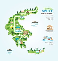 Infographic travel and landmark greece map vector