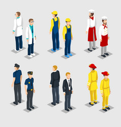 isometric professions collection vector image