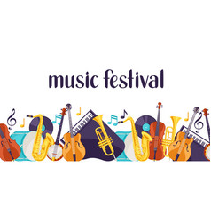 Jazz music festival banner with musical vector