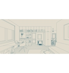 Line interior drawing vector
